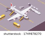 isometric plane at the airport... | Shutterstock .eps vector #1749878270