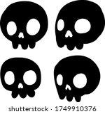 set of funny skulls. scary... | Shutterstock .eps vector #1749910376