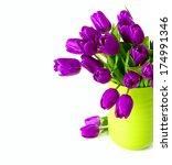 Bouquet Of Purple Tulips In A...