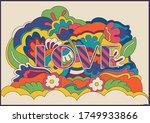psychedelic art love poster ... | Shutterstock .eps vector #1749933866