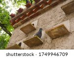 Small photo of A dark grey pigeon with a green neck is perched on an exterior roost, in front of the pigeonhole of a traditional brick dovecot featuring a tiled roof, in an organic farm in Occitanie, Southern France