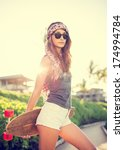 beautiful hipster girl with... | Shutterstock . vector #174994784