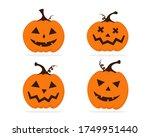 halloween pumpkin set with... | Shutterstock .eps vector #1749951440