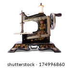 antique sewing machine on... | Shutterstock . vector #174996860