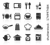 kitchen and cooking icons white....