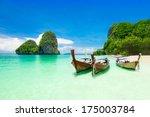 beauty beach and limestone... | Shutterstock . vector #175003784