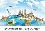 travel the world monument... | Shutterstock . vector #175007894