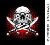 skull with cross sword hand... | Shutterstock .eps vector #1750116236