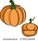 vector drawing of pumpkins.... | Shutterstock .eps vector #1750116449