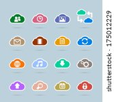 set of cloud technology icons ...
