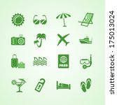 vacation travel green icons set ...