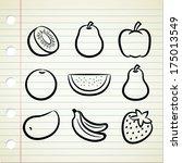 set of fruit icon in doodle... | Shutterstock . vector #175013549