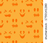 silhouettes faces pumpkins or... | Shutterstock .eps vector #1750141280
