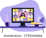 colleagues are talking to each... | Shutterstock .eps vector #1750160666