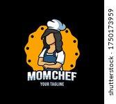 mom chef cartoon character logo ...   Shutterstock .eps vector #1750173959