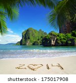 sea beach blue sky sand sun... | Shutterstock . vector #175017908