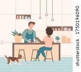 cute couple spending time... | Shutterstock .eps vector #1750196090