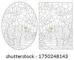 set of contour illustrations of ... | Shutterstock .eps vector #1750248143