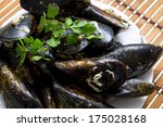 mussels on dish | Shutterstock . vector #175028168