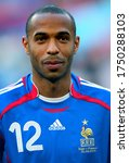 Small photo of Cologne, GERMANY - June 23, 2006: Thierry Henry looks on during the 2006 FIFA World Cup Germany Togo v France at the Rhein Energie stadium.