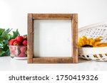 Small photo of Blank square 7x7 inches rustic wood sign with strawberries and sunflower on white background, summer wood sign mockup