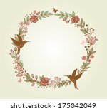 decorative wreath of flowers ... | Shutterstock .eps vector #175042049