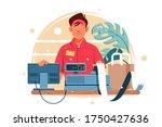 young smiling man cash register ... | Shutterstock .eps vector #1750427636