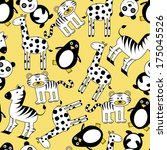 seamless pattern with cute wild ... | Shutterstock .eps vector #175045526