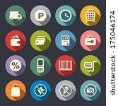 supermarket services icon set