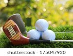 golf balls and driver  on... | Shutterstock . vector #175047920