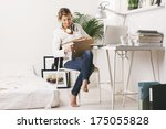 business woman working at home.  | Shutterstock . vector #175055828