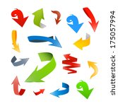 colorful abstract arrows set  ... | Shutterstock . vector #175057994