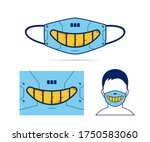 cloth face mask design with... | Shutterstock .eps vector #1750583060