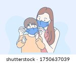 mom and little child is wearing ... | Shutterstock .eps vector #1750637039