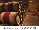 Wine Cellar With Long Row Of...