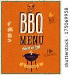 vintage bbq poster. vector... | Shutterstock .eps vector #175069958
