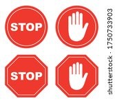 stop sign set  isolated on... | Shutterstock .eps vector #1750733903