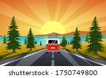 Bus On Summer Trip With Sunset...