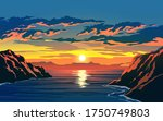 Sea On Beautiful Sunset With...
