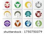 zodiac wheel  vector zodiac... | Shutterstock .eps vector #1750750379