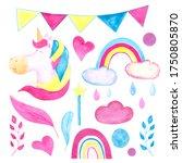 20 elements of watercolor... | Shutterstock . vector #1750805870