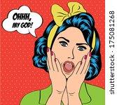 cute retro woman in comics... | Shutterstock .eps vector #175081268