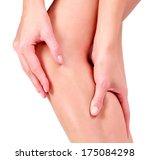 woman holding sore knee ... | Shutterstock . vector #175084298