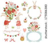 set of illustrations and... | Shutterstock .eps vector #175086380