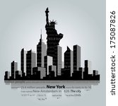 new york city silhouette. | Shutterstock .eps vector #175087826