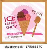 vintage ice cream poster design  | Shutterstock .eps vector #175088570