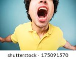 young man is screaming with his ... | Shutterstock . vector #175091570