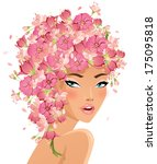beautiful girl with flower hair | Shutterstock .eps vector #175095818