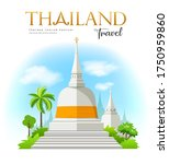 welcome to white pagoda with... | Shutterstock .eps vector #1750959860