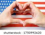 I Love Usa. Hands Make Heart P...